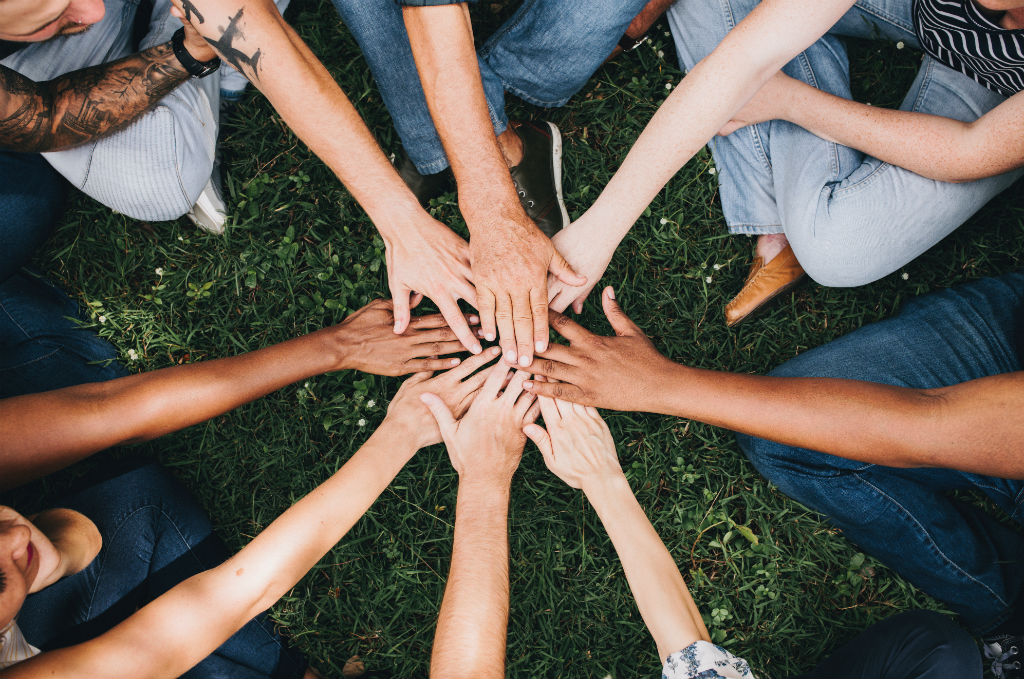 hands together in group